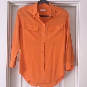 Equipment Orange Silk Button Down Blouse XS